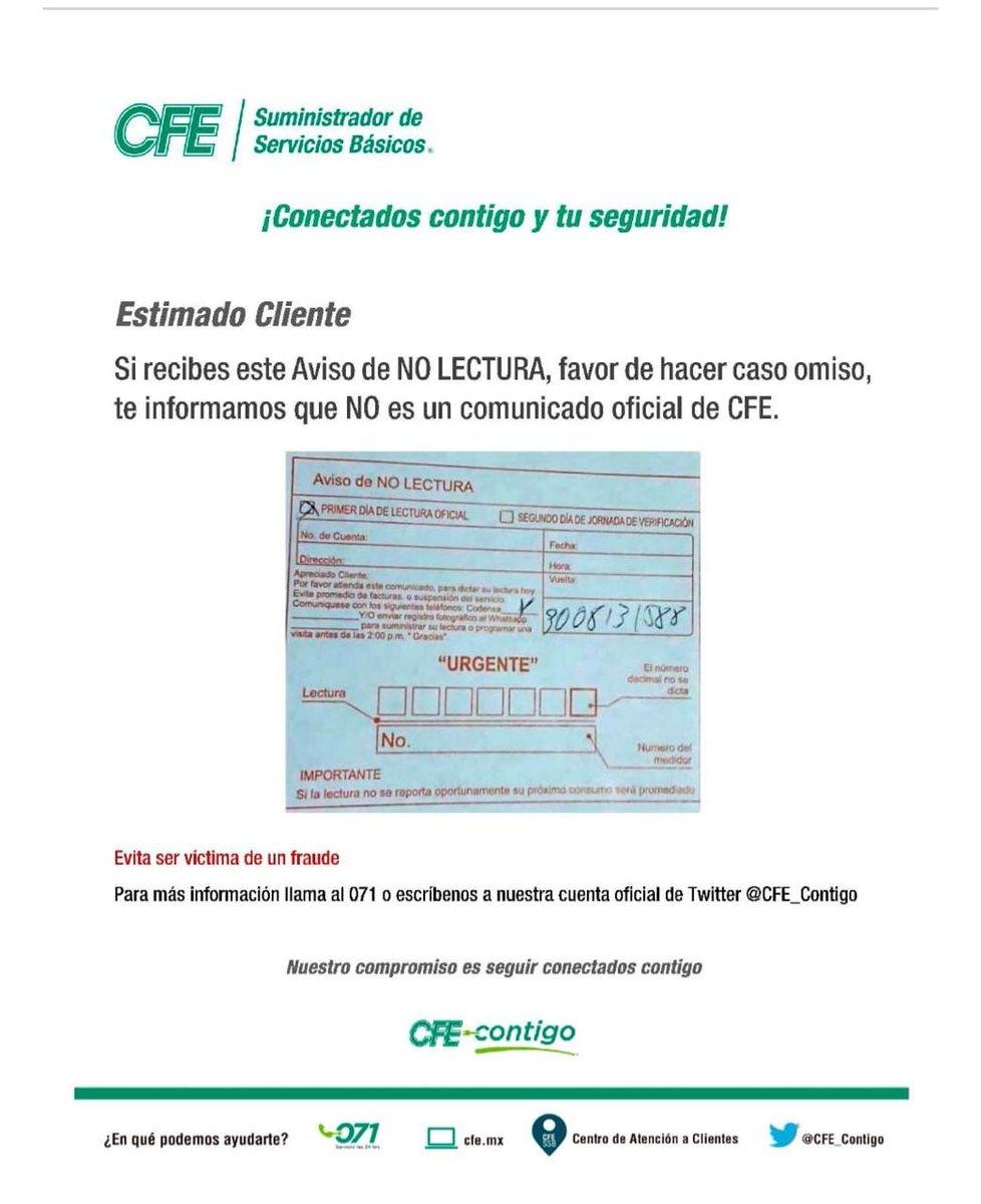 CFE desmiente avisos de cobro falsos. Imagen:twitter.