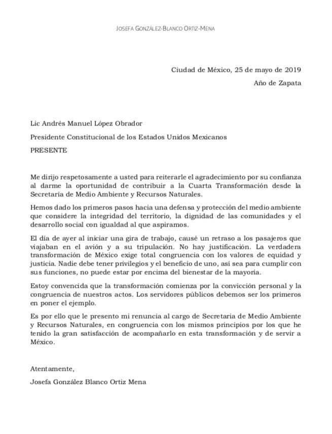 Carta de renuncia de la titular de Semarnat
