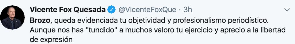 Vicente Fox aplaude elogia la crítica de Brozo a las mañaneras de AMLO