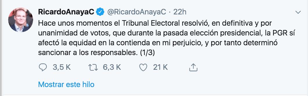 Ricardo Anaya celebra el fallo de la TEPJF