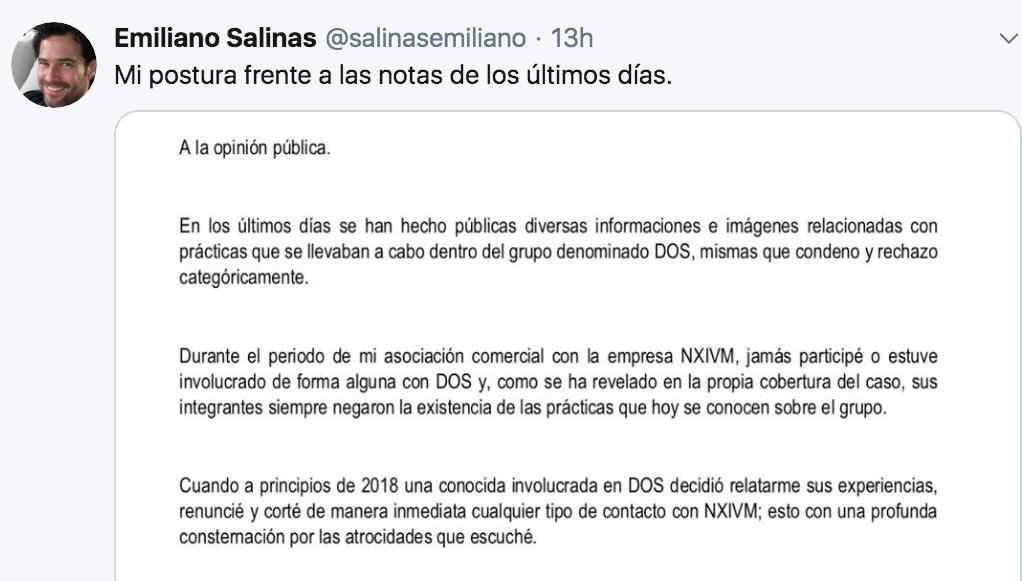 Declaración de Emiliano Salinas.