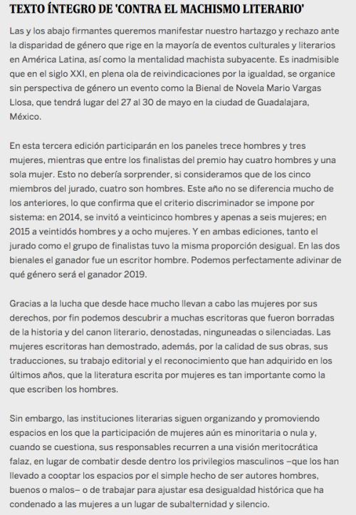 Carta firmada por autores literarios contra el machismo en Bienal de Novela Mario Vargas Llosa.