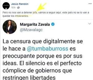 Margarita Zavala llama 'censura' a la suspensión de la cuenta de Tumbaburros