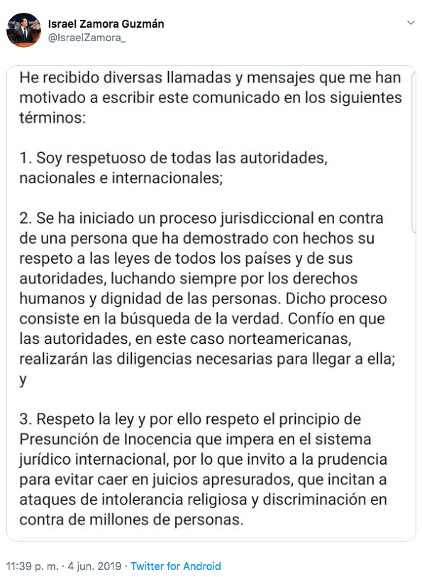 Declaración 'oficial' del senador Zamora Guzmán tras detención de Naasón Joaquín García