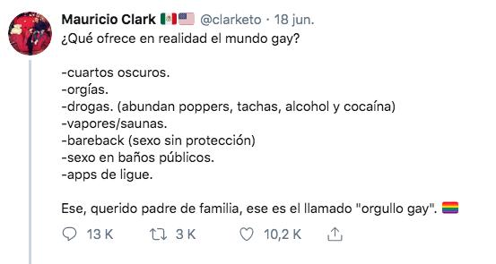 Tuit homofóbico de Mauricio Clark que se convirtió en meme