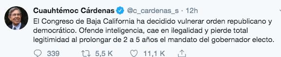 Cárdenas vs la ampliación del Gobierno de Baja California