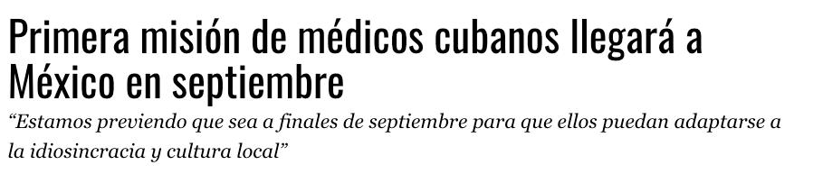 médicos cubanos no vendrán a méxico