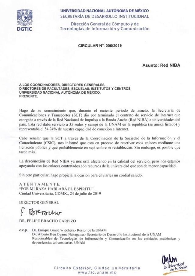 Cortan Internet a la UNAM