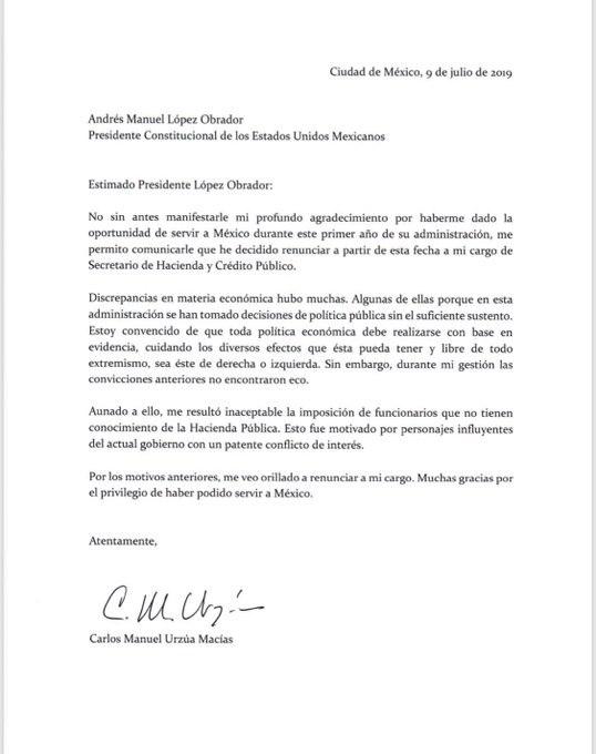 Carta de renuncia de Urzúa a la SHCP