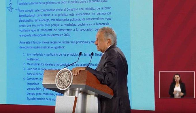 AMLO aseguró que no habrá reelección en 2024