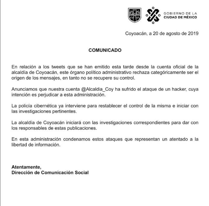 Comunicado de la Alcaldía Coyoacán tras ataque a sus redes sociales
