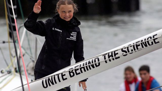 Greta Thunberg llega a Nueva York después de dos semanas
