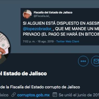 Hackean Twitter de Fiscalía de Jalisco: publican amenazas contra AMLO