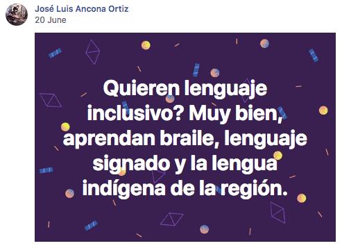 Post de Facebook donde igualan LSM con lenguaje inclusivo