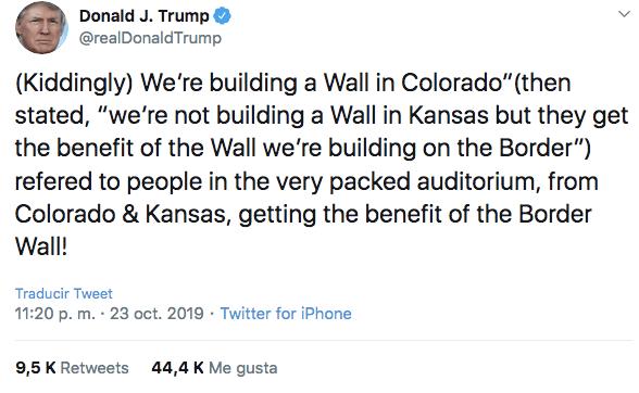 23/10/19 trump-muro-frontera-México/ Trump