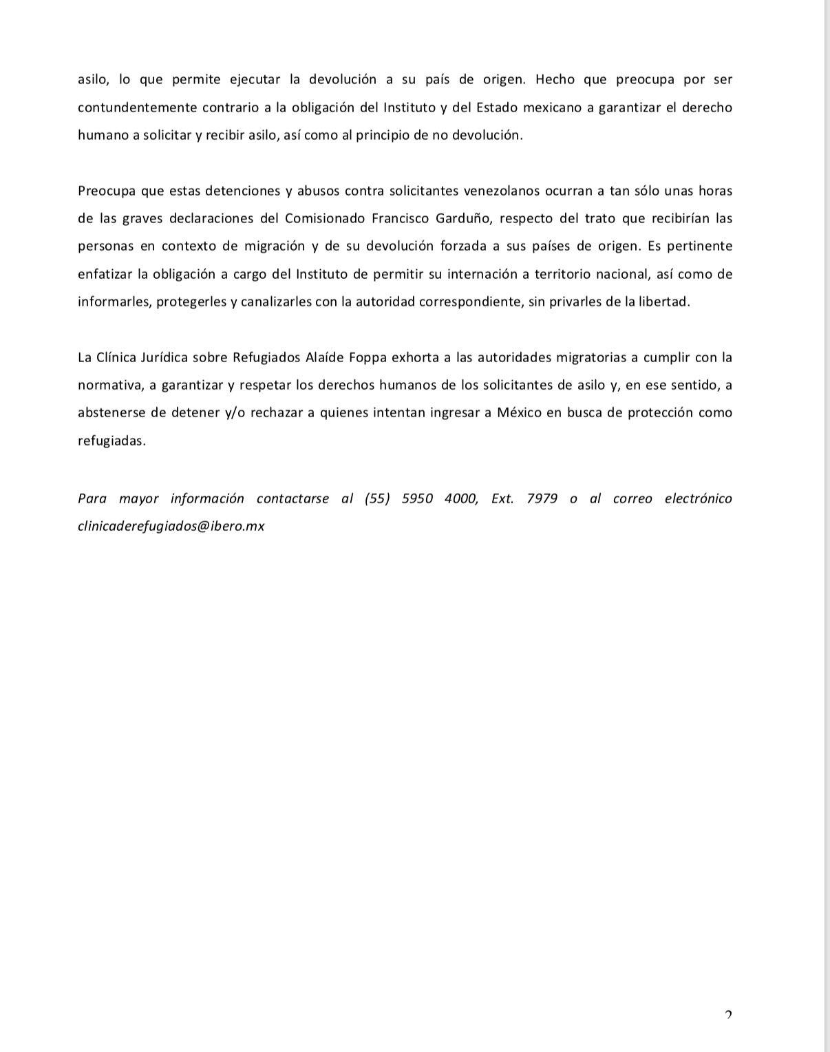 23/10/19 clínica-denunica-inm-migrantes/comunicado