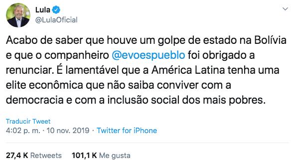 10/11/19 renuncia-Evo-Morales-reacción/ Lula