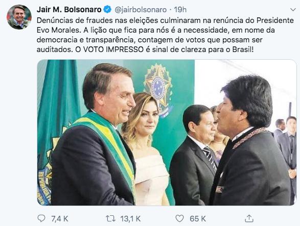 10/11/19 renuncia-Evo-Morales-reacción/ Bolsonaro
