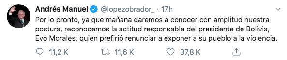 10/11/19 renuncia-Evo-Morales-reacción/ AMLO