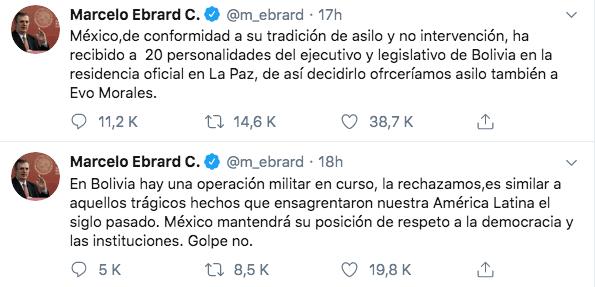 10/11/19 renuncia-Evo-Morales-reacción/ Ebrard