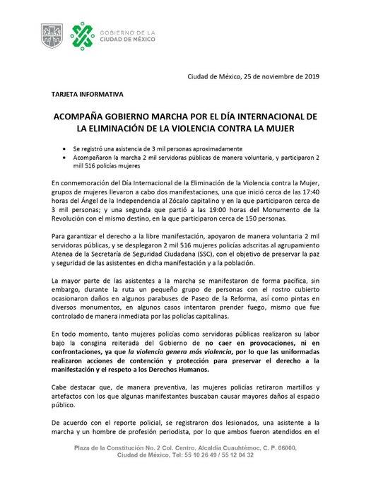 Marcha Feminista, CDMX, 25 Noviembre, Saldo