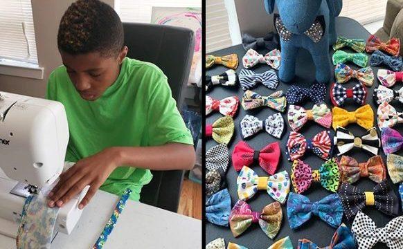 Niño hace corbatas a perros y gatos para estimular adopción