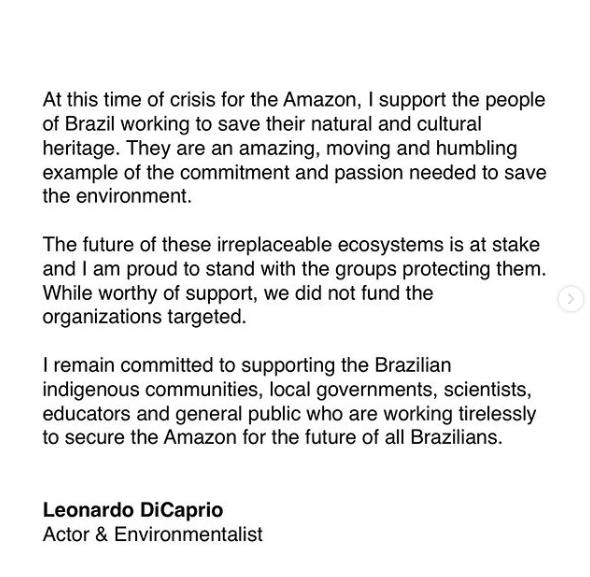 Comunicado Leonadro DiCaprio en Instagram