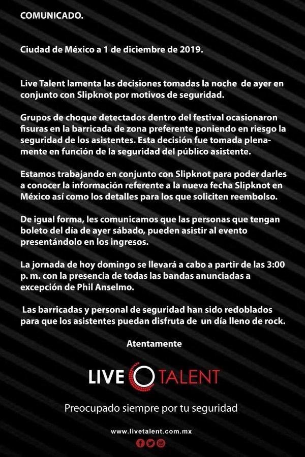 Comunicado de Live Talent sobre Knotfest 2019