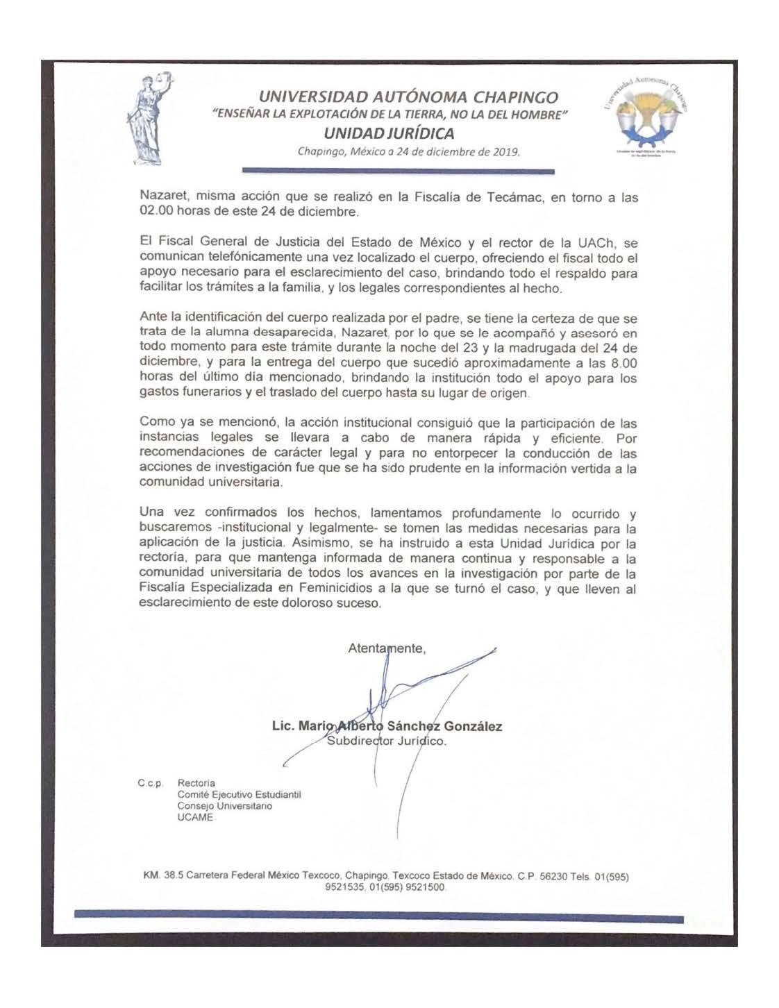 "Comunicado de la Universidad Autónoma de Chapingo sobre la muerte de la alumna Nazaret ""N"""