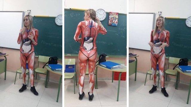 Una profesora de Valladolid enseño anatomia utilizando un traje anatomico en su clase