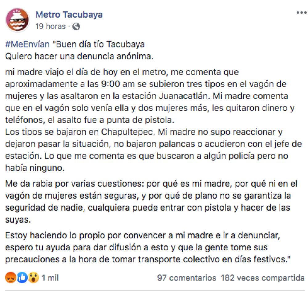 Asalto En Metro Es Denunciado En Redes Sociales