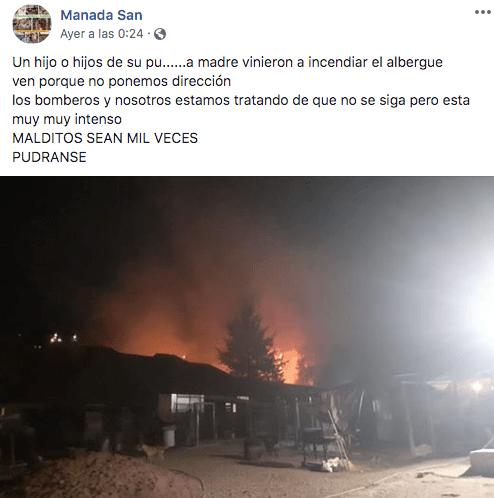 El refugio informó sobre el incendio en redes sociales (Imagen: Facebook)