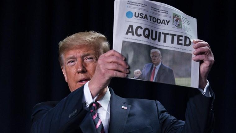 Trump tras ser absuelto del impeachment: 'querían infligir dolor político'.