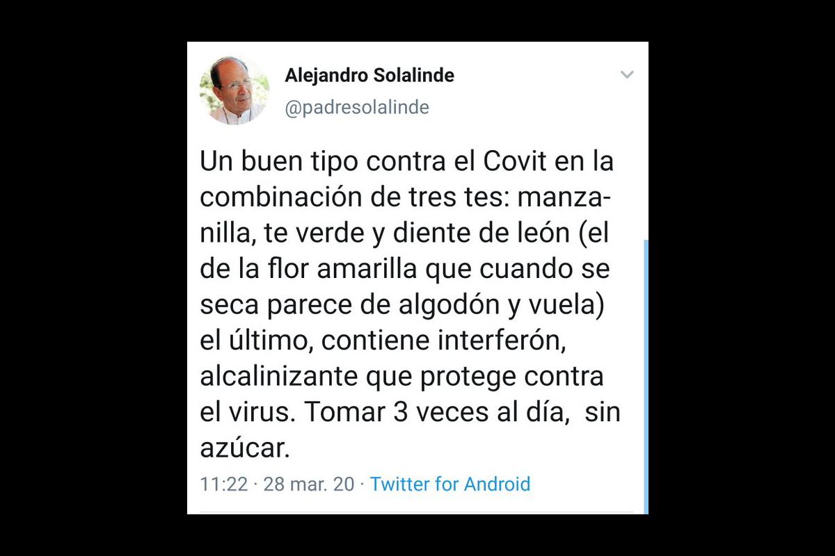 Padre Solalinde, Té, Receta, Coronavirus