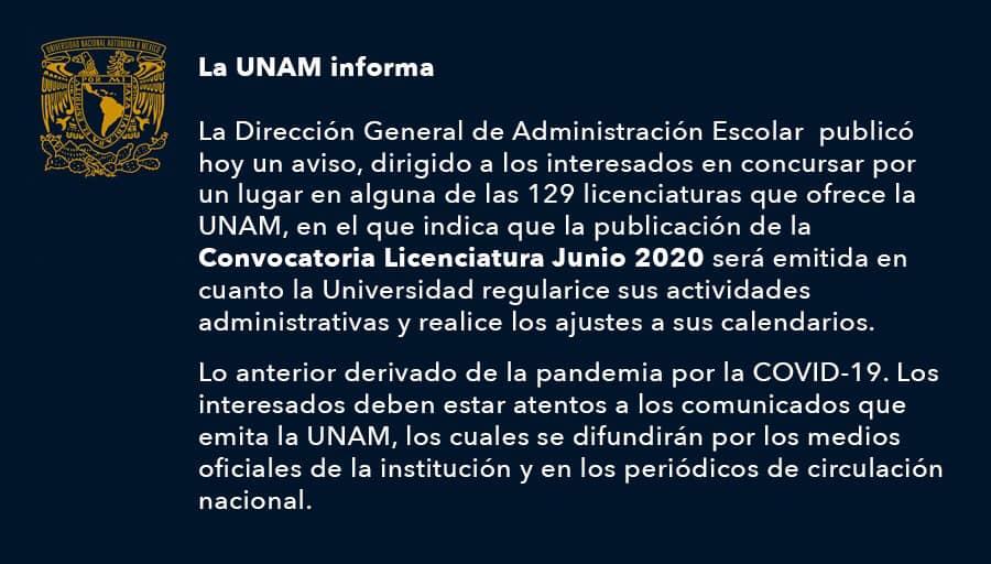 Convocatoria, UNAM, Aplazada, Coronavirus