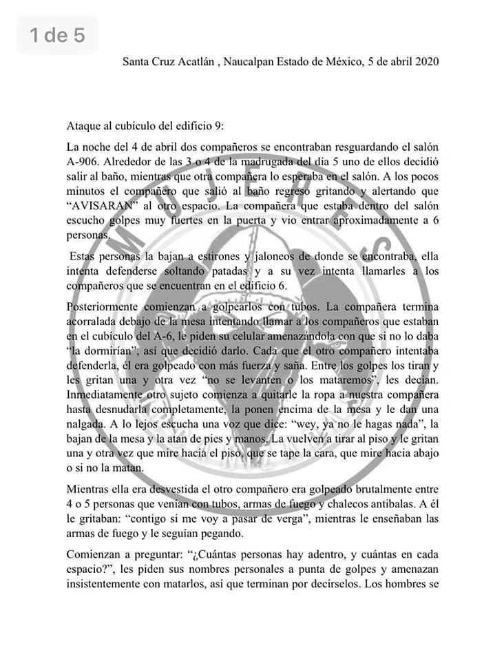 FES Acatlán, Incendio, UNAM, Denuncia