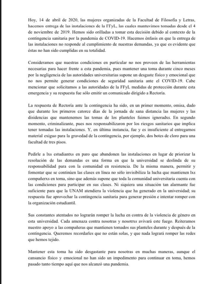 Facultad Filosofía Y Letras, UNAM, Paro, Facebook