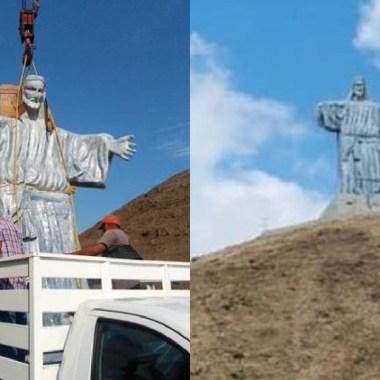 Colocaron un Cristo gigante en la pirámide en Tierra Blanca, Los pobladores no contaban con el permiso de la INAH