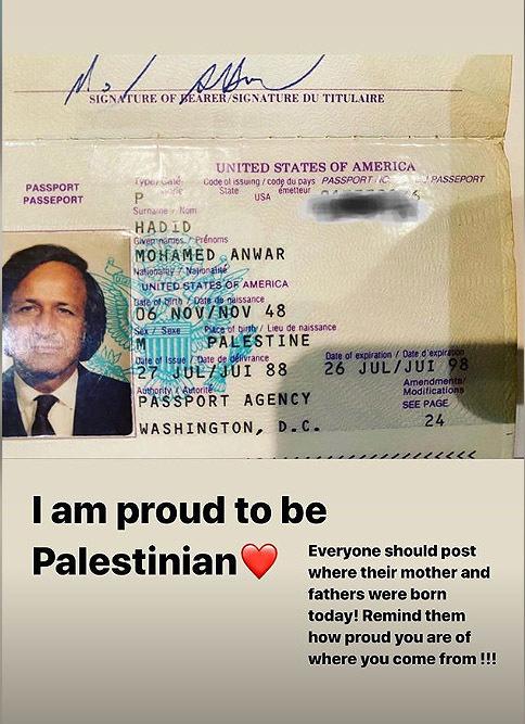 Bella Hadid había compartido el pasaporte de su padre en Instagram por incluir la palabra Palestina