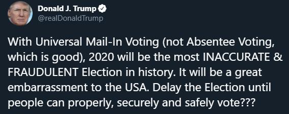 El presidente de Estados Unidos Donald Trump anunció en Twitter quiere posponer la elecciones de Estados Unidos, Captura de Pantalla