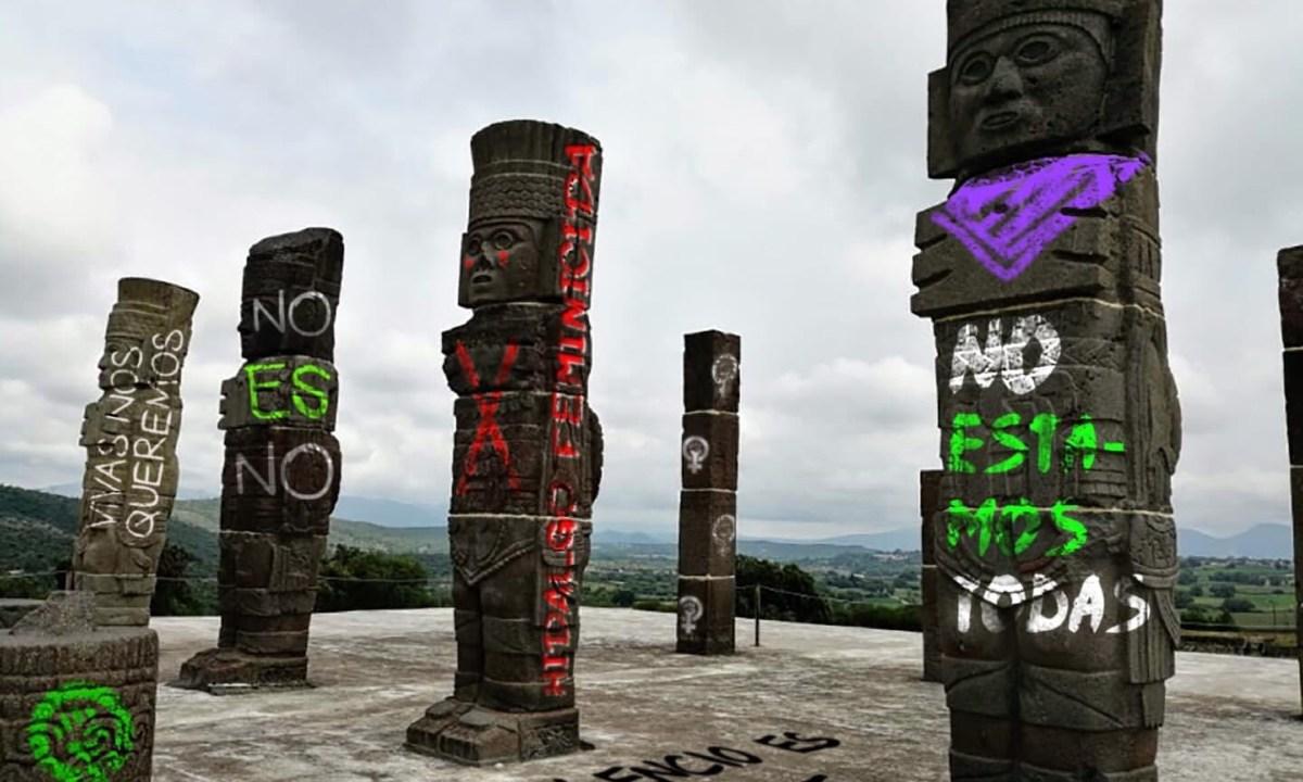 Protestan feministas pintas virtuales monumentos emblemáticos Hidalgo