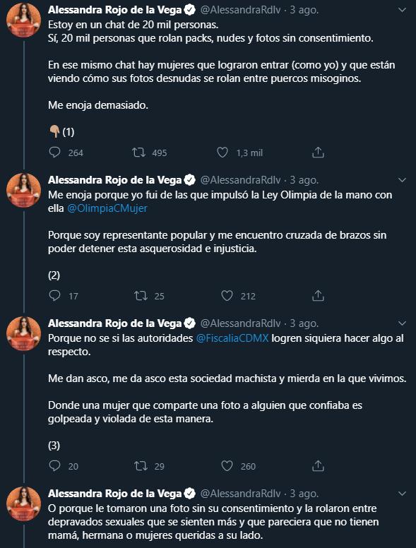 Alessandra Rojo de la Vega denunció un chat con 20 mil personas que se usa distribuir fotos intimas, packs o nudes de mujeres desnudas, Captura de Pantalla