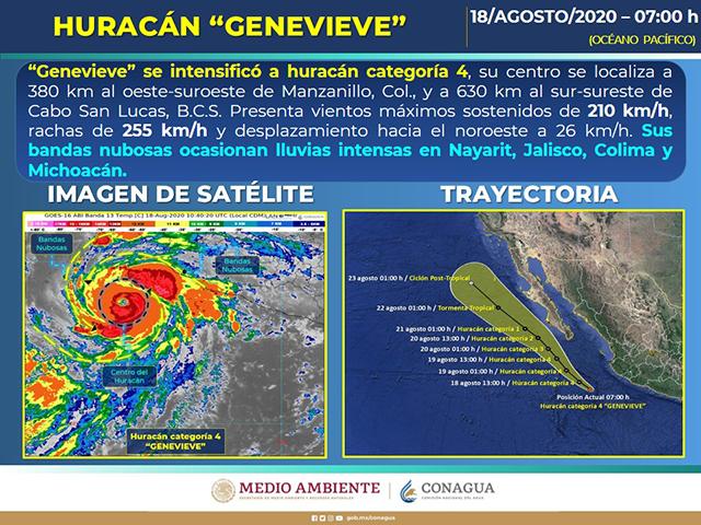 El Sistema Meteorológico prevé fuertes lluvias en varios estados del país ya que Genevive se transformó en huracán categoría 4 cerca de Colima