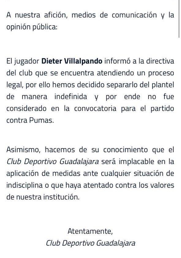 Chivas anunció que separó del plantel a Dieter Villalpando por las acusaciones de un presunto delito sexual