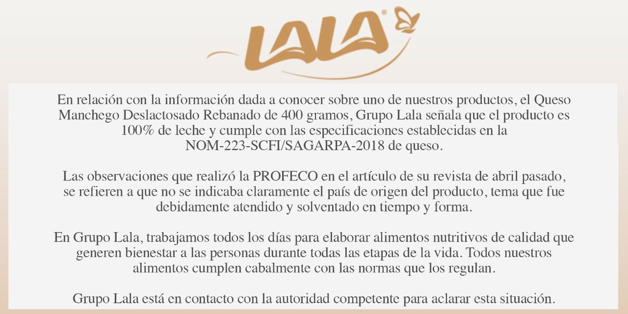 La Secretaría de Economía y la Profeco dieron a conocer la lista de las 19 marcas de queso y yogurt que incumplen con las NOMs