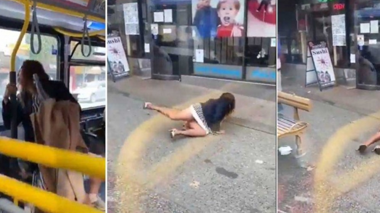 mujer sin cubrebocas escupe joven autobús Canadá