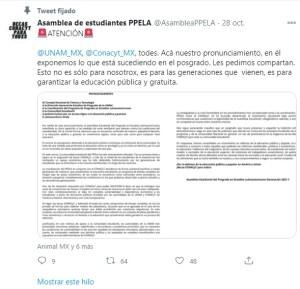 estudiantes posgrado FFyL UNAM paro exigir becas Conacyt