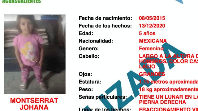 Encuentran Monserrat niña Aguascalientes