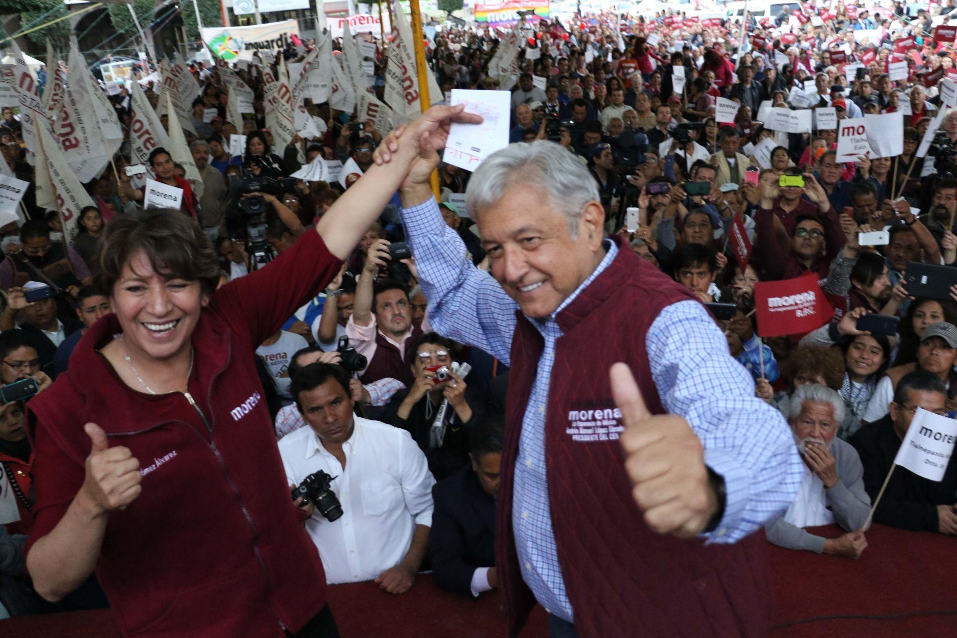 Delfina Gómez y AMLO en la campaña por el EDOMEX