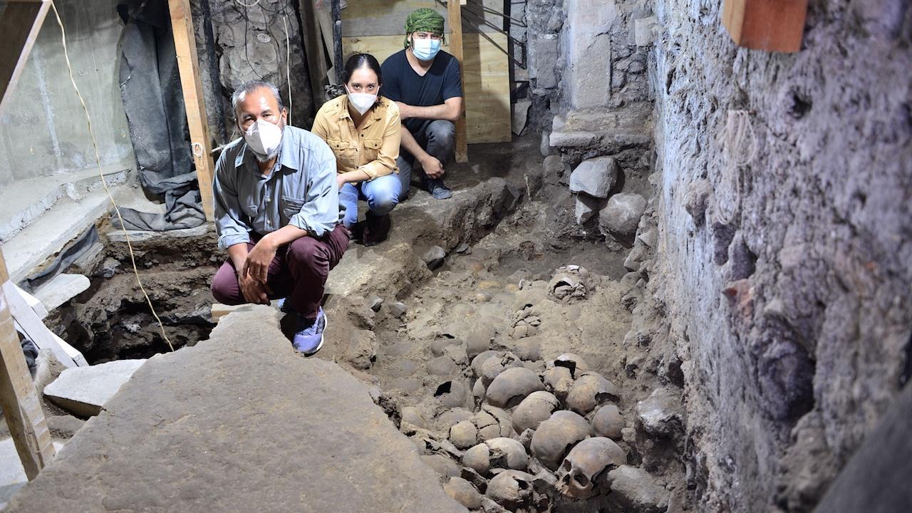 Descubren 119 cráneos Huei Tzompantli